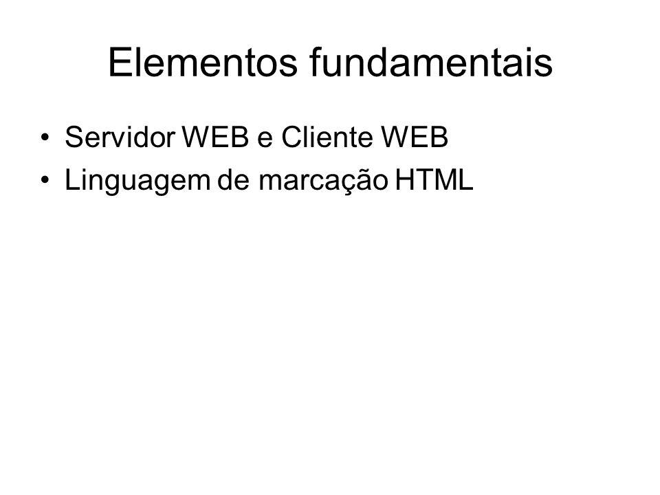 Elementos fundamentais Servidor WEB e Cliente WEB Linguagem de marcação HTML
