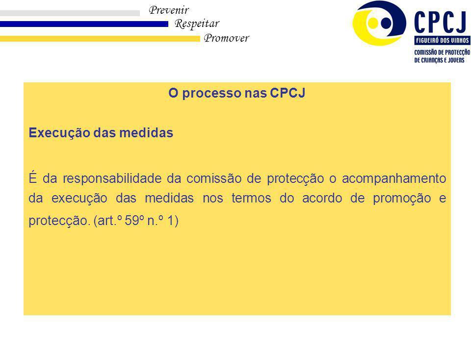 Prevenir Respeitar Promover Modulo I – 1ª Parte O processo nas CPCJ Execução das medidas É da responsabilidade da comissão de protecção o acompanhamento da execução das medidas nos termos do acordo de promoção e protecção.