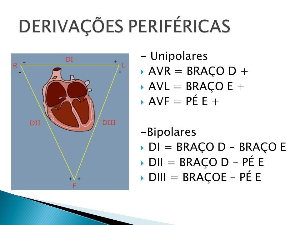 - Unipolares AVR = BRAÇO D + AVL = BRAÇO E + AVF = PÉ E + -Bipolares DI = BRAÇO D – BRAÇO E DII = BRAÇO D – PÉ E DIII = BRAÇOE – PÉ E