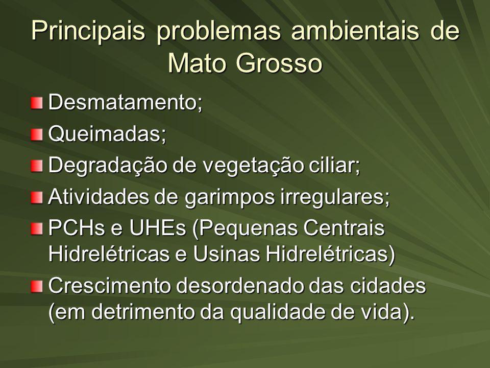 Principais problemas ambientais de Mato Grosso Desmatamento;Queimadas; Degradação de vegetação ciliar; Atividades de garimpos irregulares; PCHs e UHEs