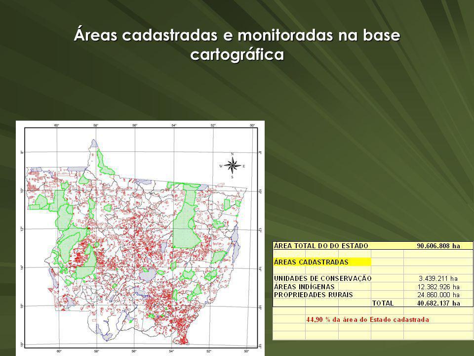 Áreas cadastradas e monitoradas na base cartográfica