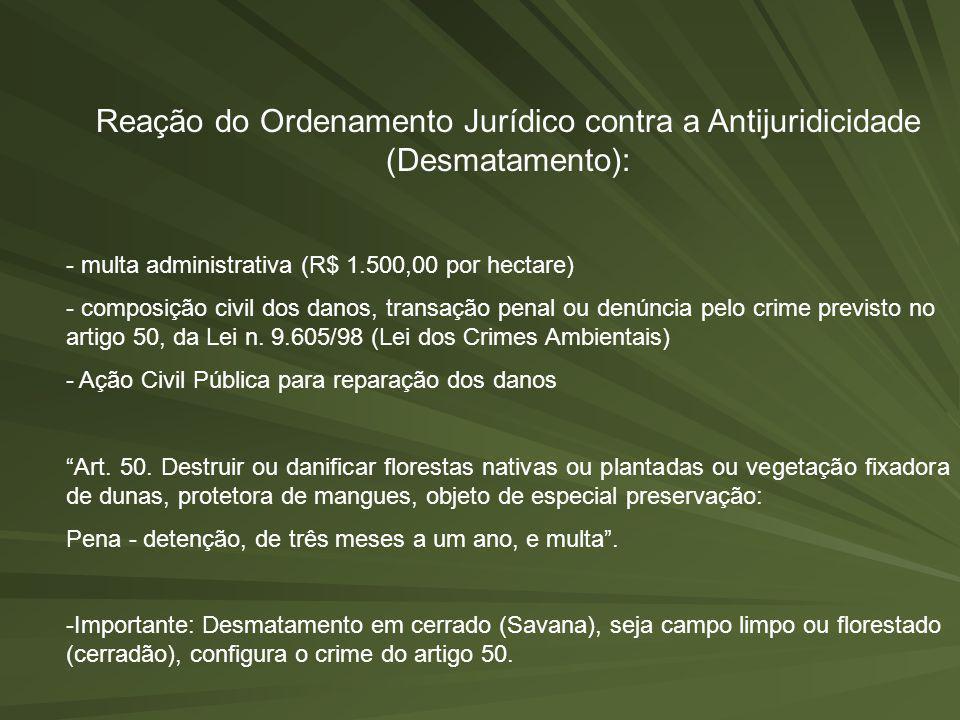Reação do Ordenamento Jurídico contra a Antijuridicidade (Desmatamento): - multa administrativa (R$ 1.500,00 por hectare) - composição civil dos danos