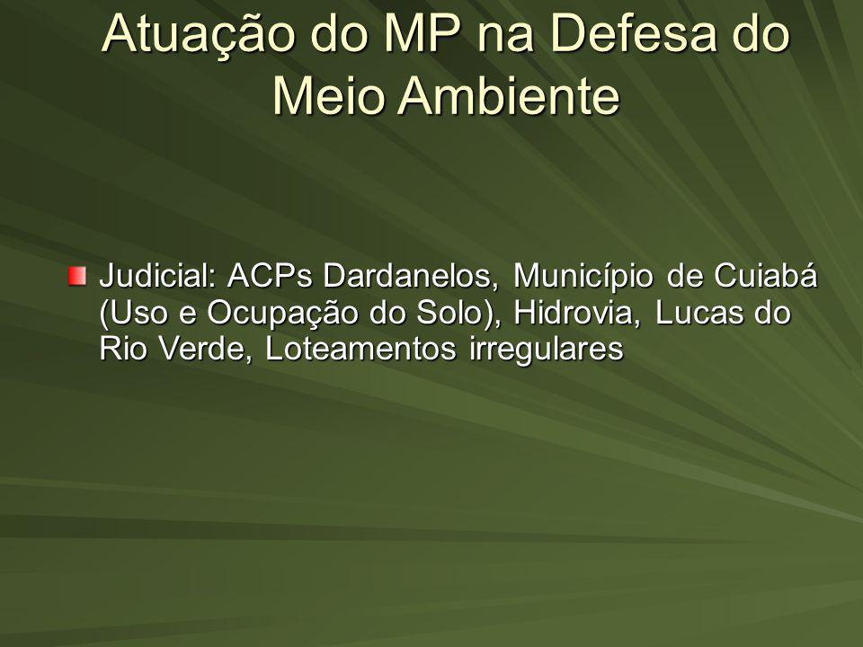 Atuação do MP na Defesa do Meio Ambiente Judicial: ACPs Dardanelos, Município de Cuiabá (Uso e Ocupação do Solo), Hidrovia, Lucas do Rio Verde, Loteam