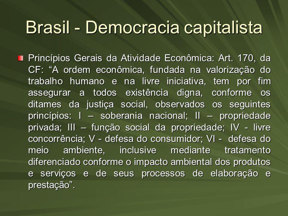 Brasil - Democracia capitalista Princípios Gerais da Atividade Econômica: Art. 170, da CF: A ordem econômica, fundada na valorização do trabalho human