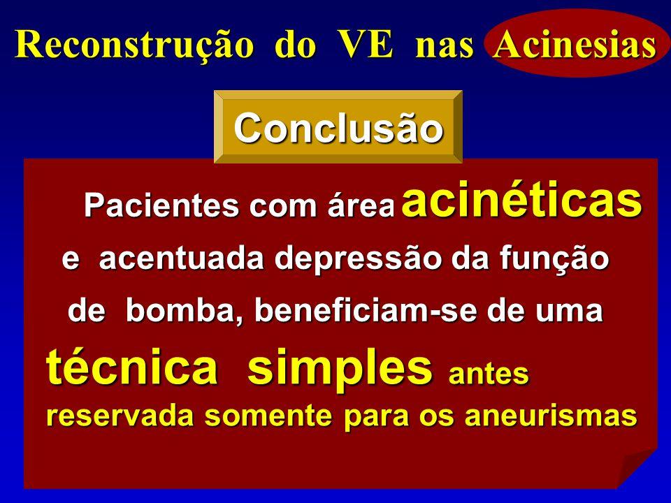 Reconstrução do VE nas Acinesias Pacientes com áreas acinéticas e acentuada depressão da função de bomba, beneficiam-se de uma técnica simples, antes