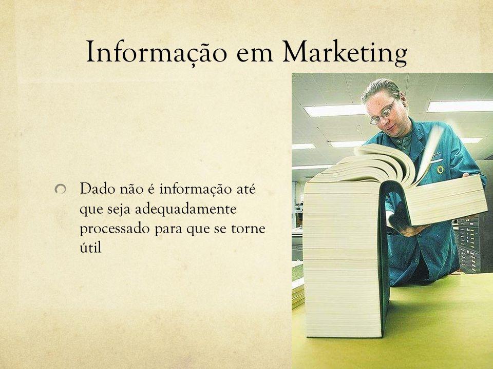 Informação em Marketing Dado não é informação até que seja adequadamente processado para que se torne útil
