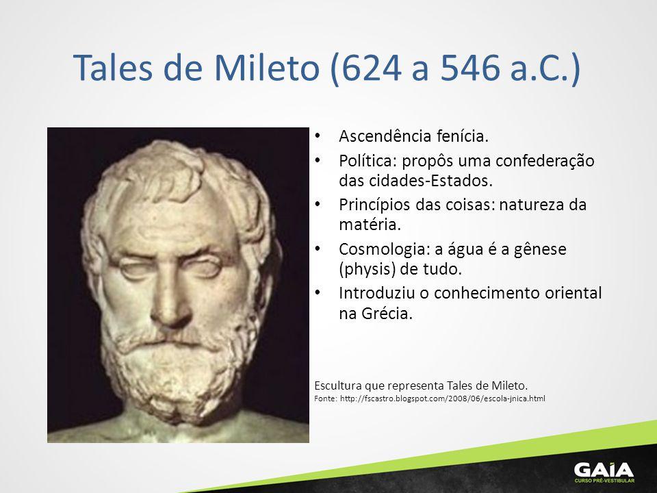 Tales de Mileto (624 a 546 a.C.) Ascendência fenícia. Política: propôs uma confederação das cidades-Estados. Princípios das coisas: natureza da matéri