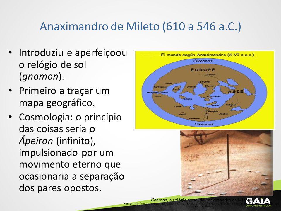 Anaximandro de Mileto (610 a 546 a.C.) Gnomon, o relógio de sol de Anaximandro de Mieto. Fonte:http://www.templodeapolo.net/Civilizacoes/grecia/filoso