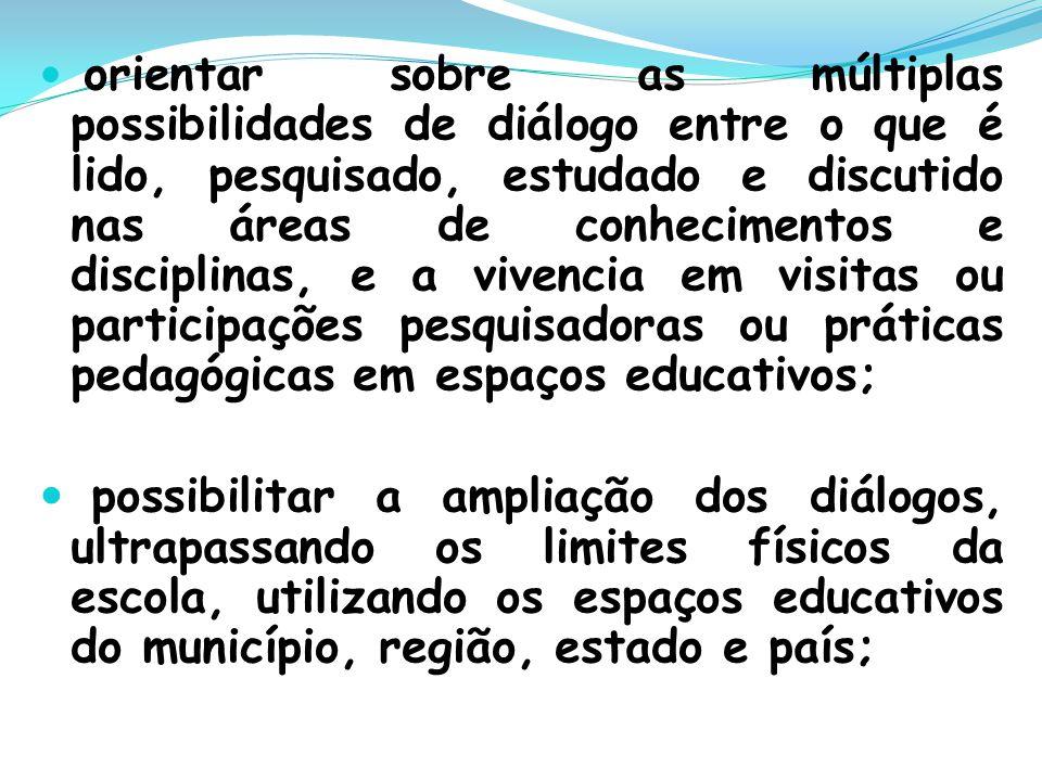 orientar sobre as múltiplas possibilidades de diálogo entre o que é lido, pesquisado, estudado e discutido nas áreas de conhecimentos e disciplinas, e