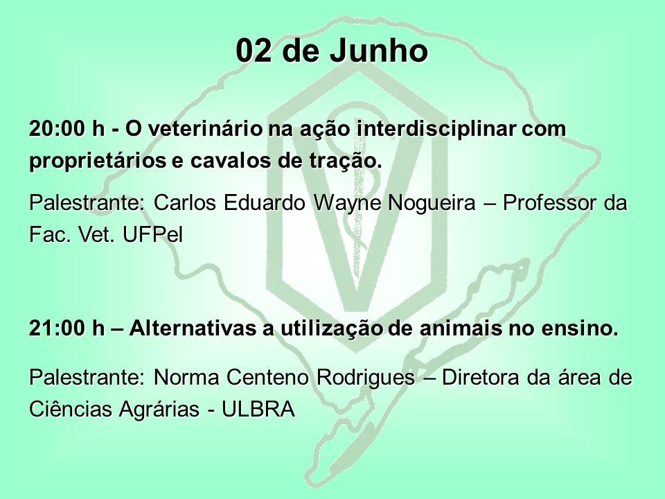 02 de Junho 20:00 h - O veterinário na ação interdisciplinar com proprietários e cavalos de tração.