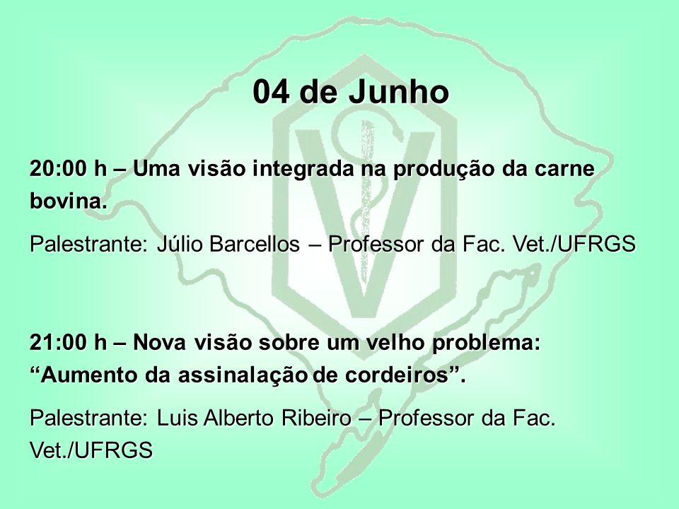 04 de Junho 04 de Junho 20:00 h – Uma visão integrada na produção da carne bovina.
