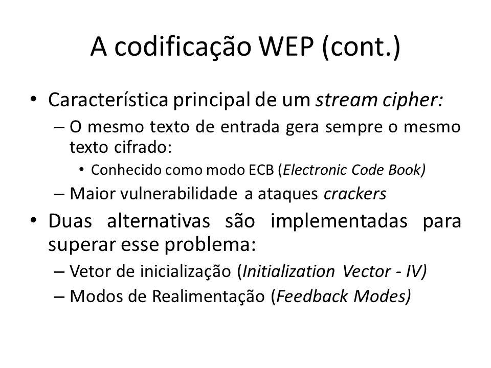 A codificação WEP (cont.) Característica principal de um stream cipher: – O mesmo texto de entrada gera sempre o mesmo texto cifrado: Conhecido como m