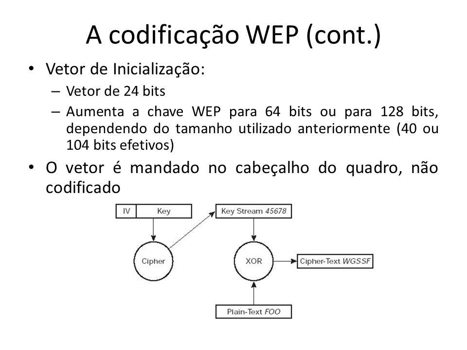 A codificação WEP (cont.) Vetor de Inicialização: – Vetor de 24 bits – Aumenta a chave WEP para 64 bits ou para 128 bits, dependendo do tamanho utiliz