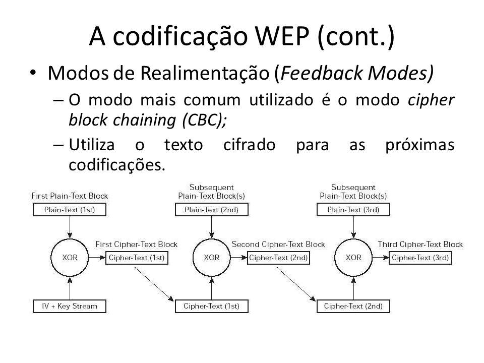 A codificação WEP (cont.) Modos de Realimentação (Feedback Modes) – O modo mais comum utilizado é o modo cipher block chaining (CBC); – Utiliza o text