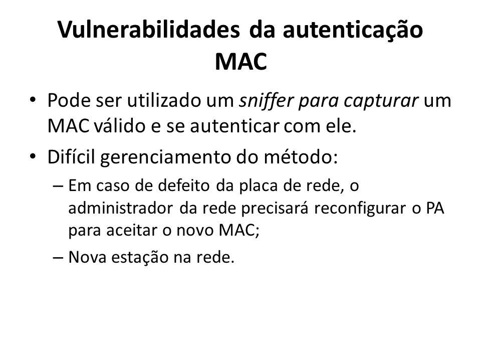 Vulnerabilidades da autenticação MAC Pode ser utilizado um sniffer para capturar um MAC válido e se autenticar com ele. Difícil gerenciamento do métod