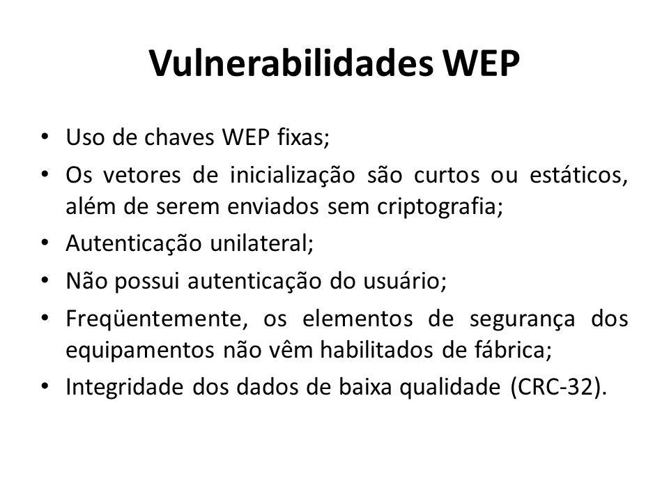 Vulnerabilidades WEP Uso de chaves WEP fixas; Os vetores de inicialização são curtos ou estáticos, além de serem enviados sem criptografia; Autenticaç