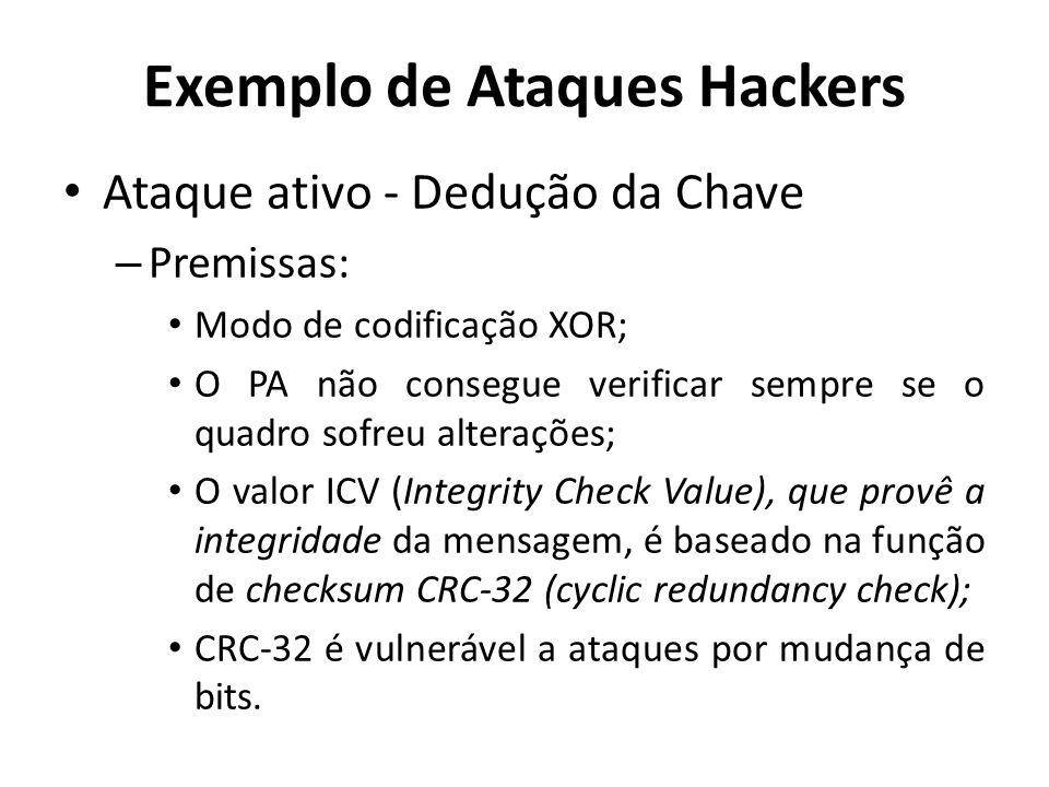 Exemplo de Ataques Hackers Ataque ativo - Dedução da Chave – Premissas: Modo de codificação XOR; O PA não consegue verificar sempre se o quadro sofreu