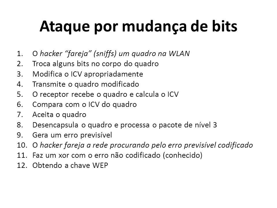 Ataque por mudança de bits 1.O hacker fareja (sniffs) um quadro na WLAN 2.Troca alguns bits no corpo do quadro 3.Modifica o ICV apropriadamente 4.Tran