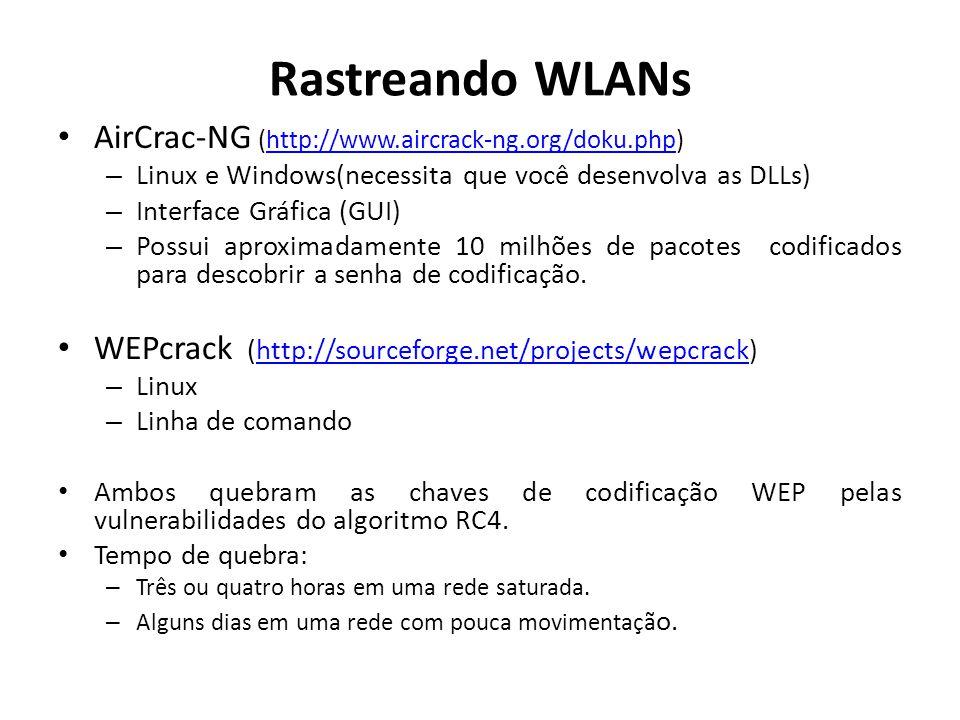 Rastreando WLANs AirCrac-NG (http://www.aircrack-ng.org/doku.php)http://www.aircrack-ng.org/doku.php – Linux e Windows(necessita que você desenvolva a