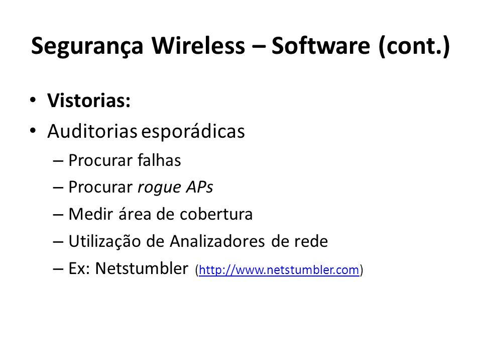 Segurança Wireless – Software (cont.) Vistorias: Auditorias esporádicas – Procurar falhas – Procurar rogue APs – Medir área de cobertura – Utilização
