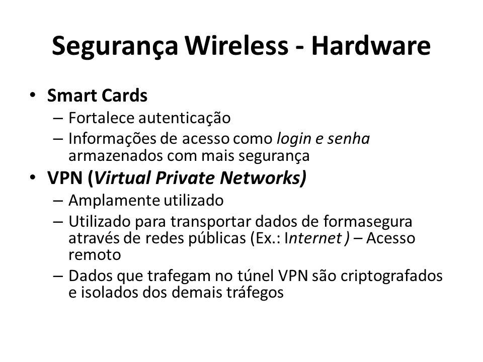 Segurança Wireless - Hardware Smart Cards – Fortalece autenticação – Informações de acesso como login e senha armazenados com mais segurança VPN (Virt