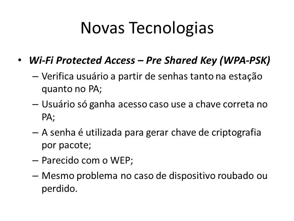 Novas Tecnologias Wi-Fi Protected Access – Pre Shared Key (WPA-PSK) – Verifica usuário a partir de senhas tanto na estação quanto no PA; – Usuário só