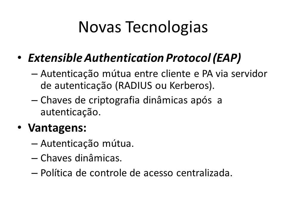 Novas Tecnologias Extensible Authentication Protocol (EAP) – Autenticação mútua entre cliente e PA via servidor de autenticação (RADIUS ou Kerberos).