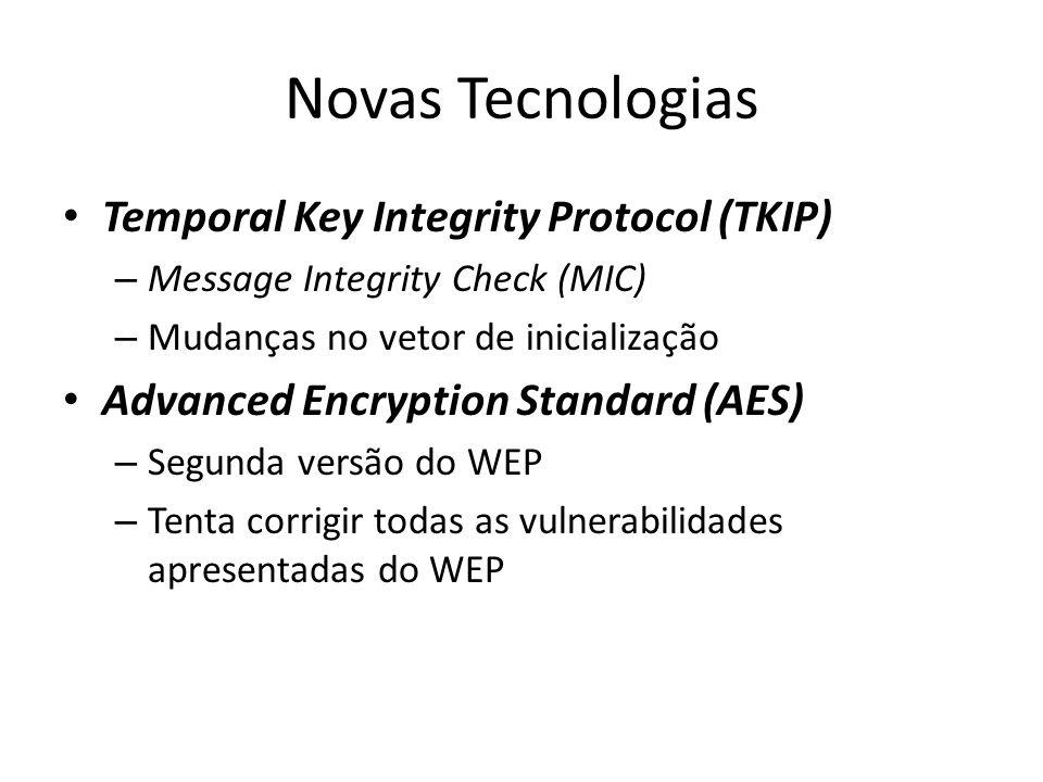 Novas Tecnologias Temporal Key Integrity Protocol (TKIP) – Message Integrity Check (MIC) – Mudanças no vetor de inicialização Advanced Encryption Stan