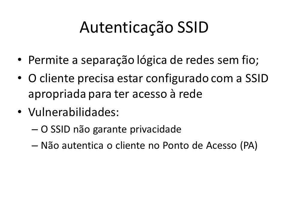 Autenticação SSID Permite a separação lógica de redes sem fio; O cliente precisa estar configurado com a SSID apropriada para ter acesso à rede Vulner