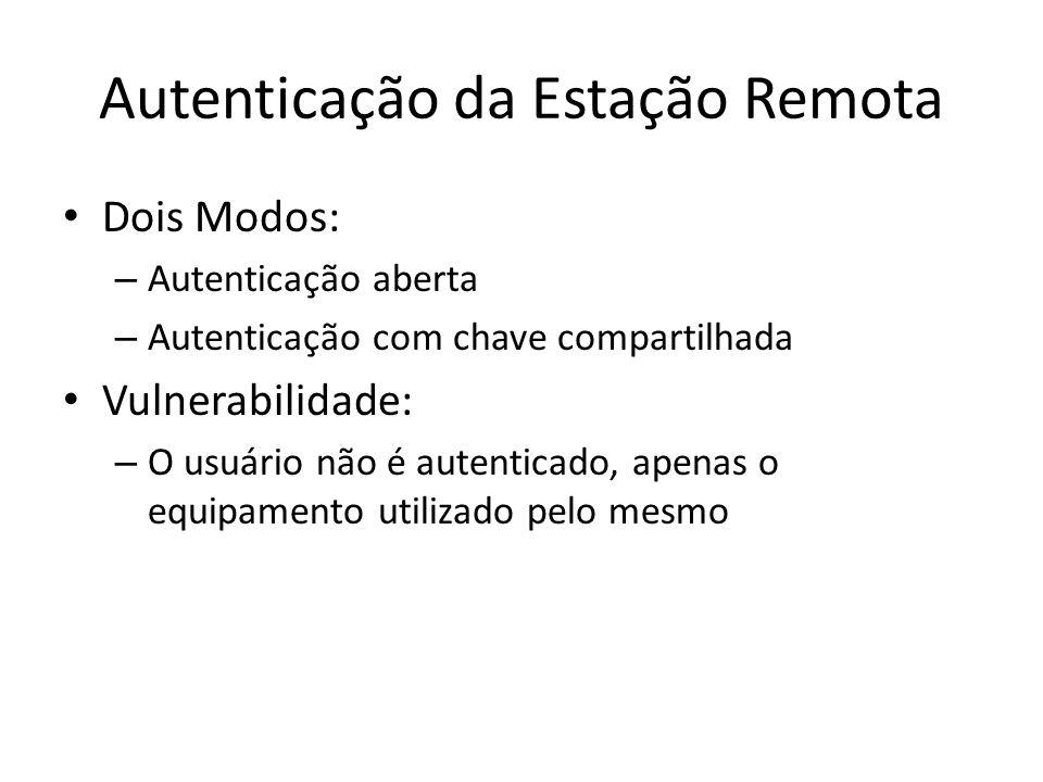 Autenticação da Estação Remota Dois Modos: – Autenticação aberta – Autenticação com chave compartilhada Vulnerabilidade: – O usuário não é autenticado