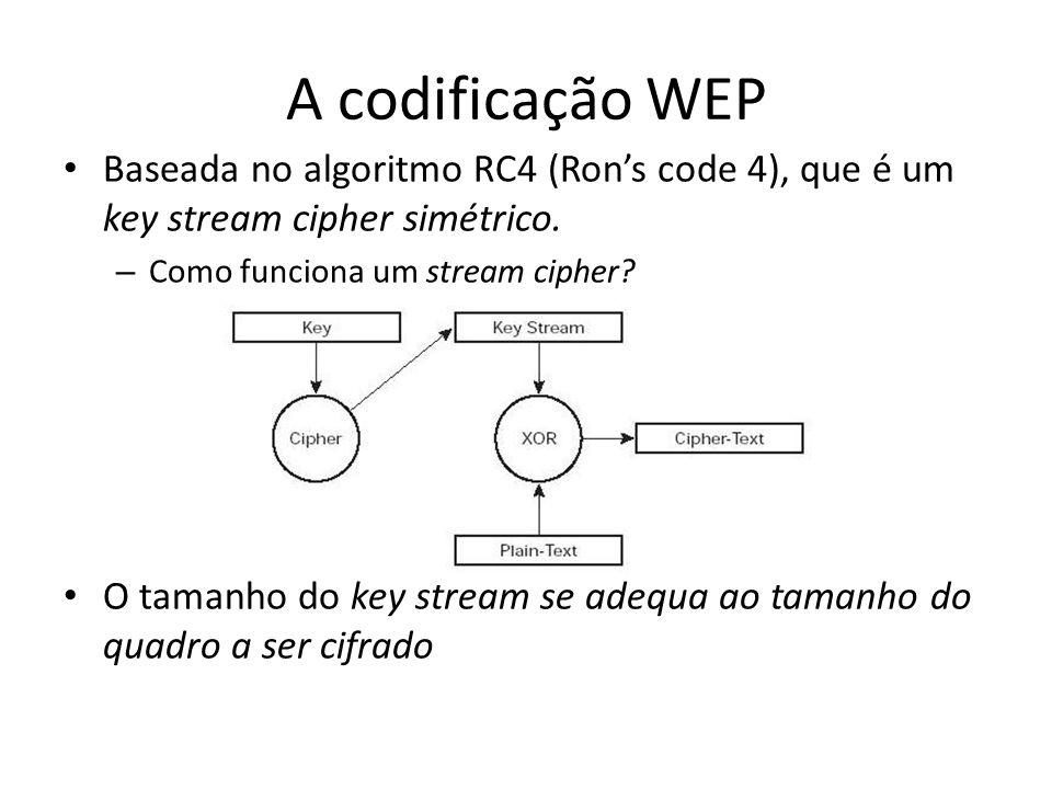 A codificação WEP Baseada no algoritmo RC4 (Rons code 4), que é um key stream cipher simétrico. – Como funciona um stream cipher? O tamanho do key str