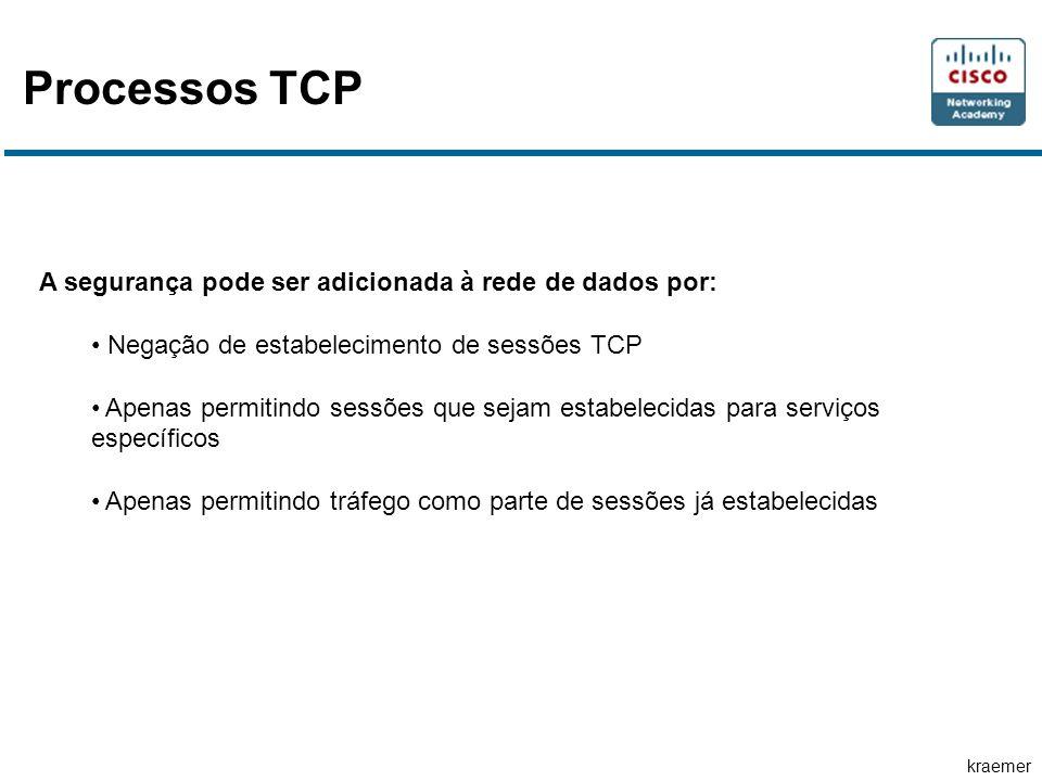 kraemer Processos TCP A segurança pode ser adicionada à rede de dados por: Negação de estabelecimento de sessões TCP Apenas permitindo sessões que sej