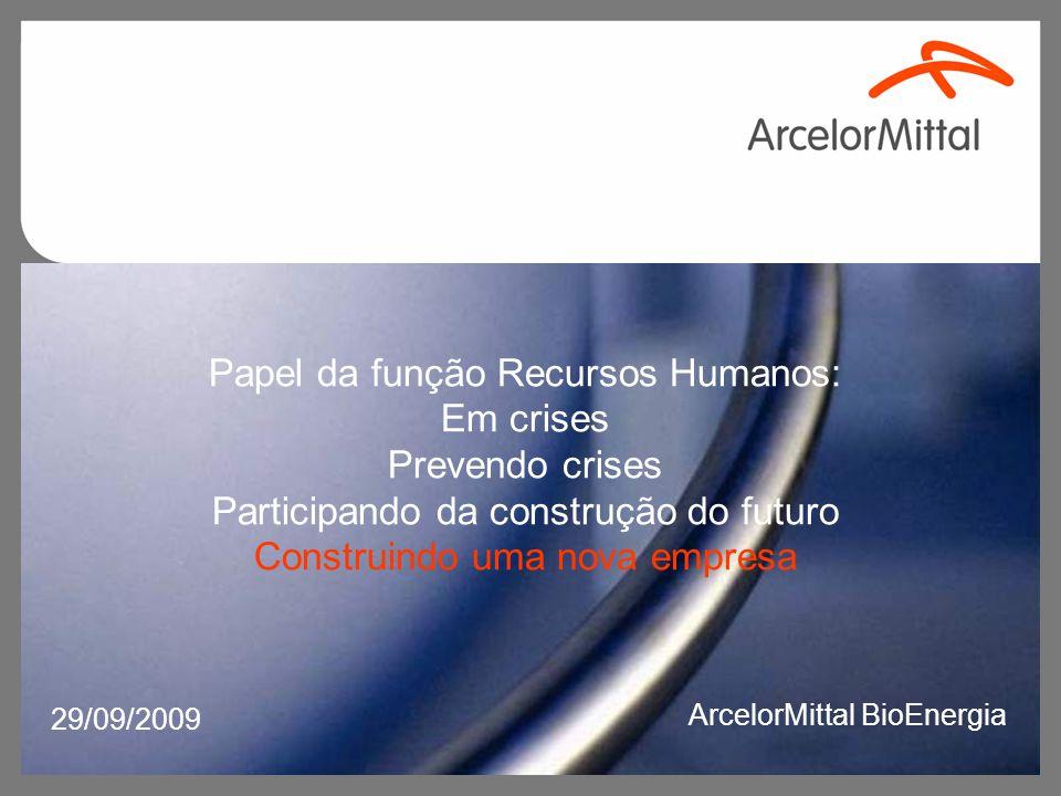 Papel da função Recursos Humanos: Em crises Prevendo crises Participando da construção do futuro Construindo uma nova empresa 29/09/2009 ArcelorMittal