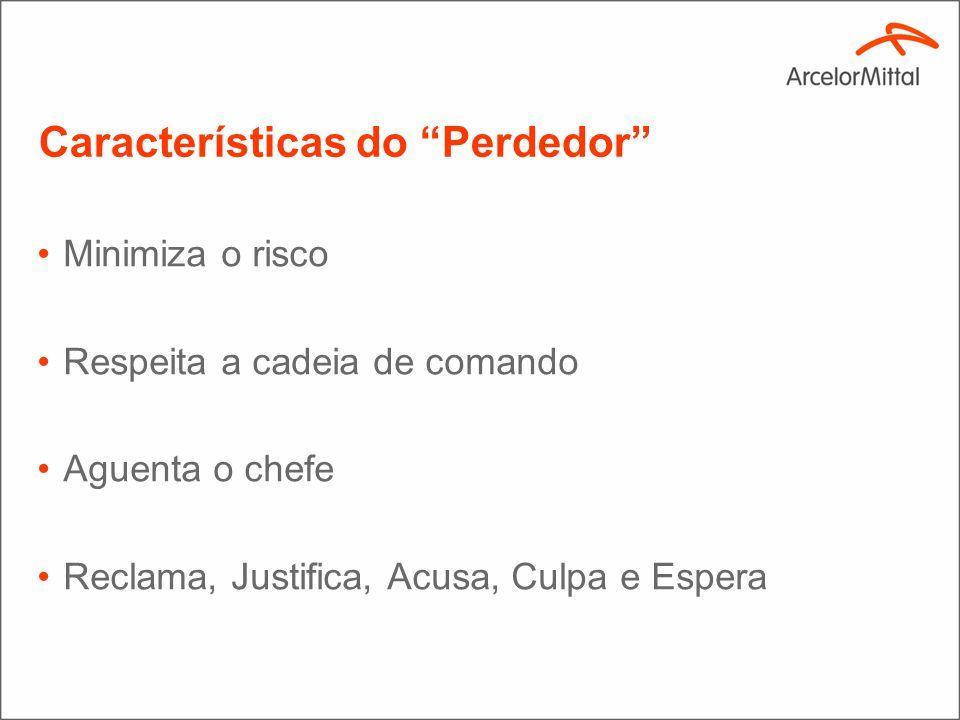 Características do Perdedor Minimiza o risco Respeita a cadeia de comando Aguenta o chefe Reclama, Justifica, Acusa, Culpa e Espera