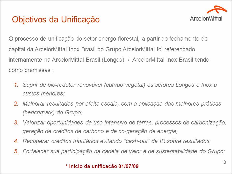 4 Resultados preliminares da unificação (1) Incluindo redução no custo de conversão – R$12,00 / ton.CV Dados Principais ArcelorMittal Florestas ArcelorMittal Jequitinhonha ArcelorMittal BioEnergia 1 – Sinergias realizadas (2009)--2,5 MR$ 2 – Sinergias a realizar(2010/11) (1) --12,5 MR$ 3 – Políticas sociais (2010)--(6,0 MR$)