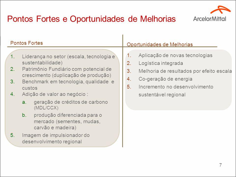 7 Pontos Fortes e Oportunidades de Melhorias Pontos Fortes 1.Liderança no setor (escala, tecnologia e sustentabilidade) 2.Patrimônio Fundiário com pot