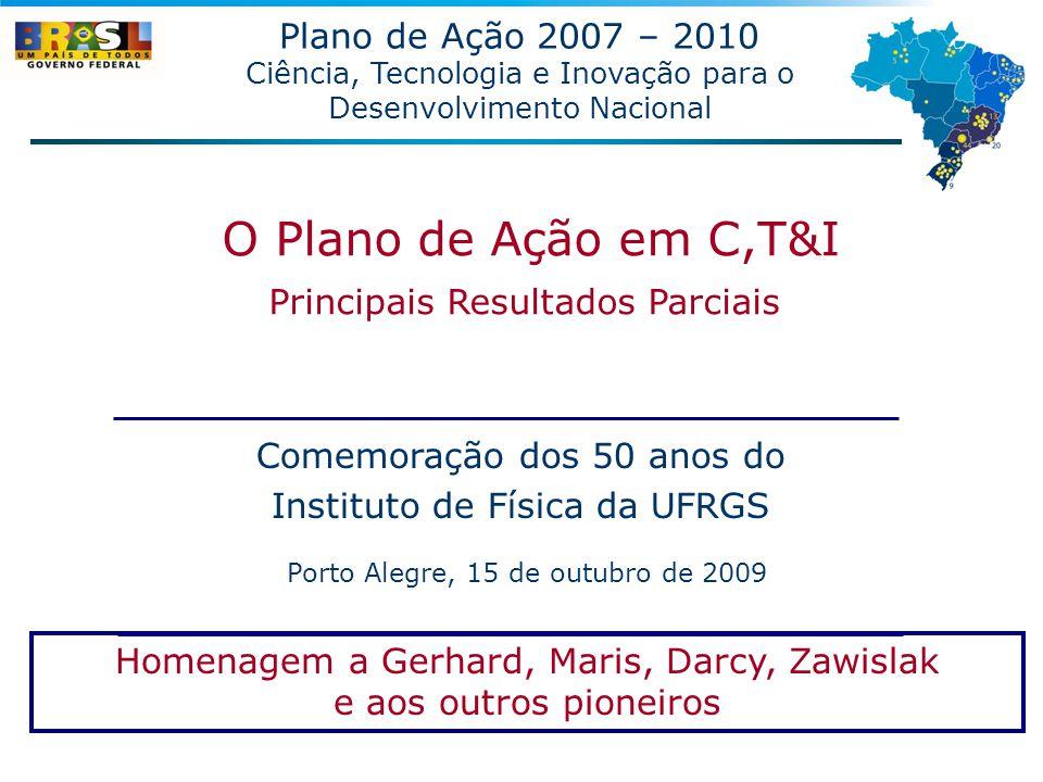 Comemoração dos 50 anos do Instituto de Física da UFRGS Porto Alegre, 15 de outubro de 2009 Plano de Ação 2007 – 2010 Ciência, Tecnologia e Inovação p