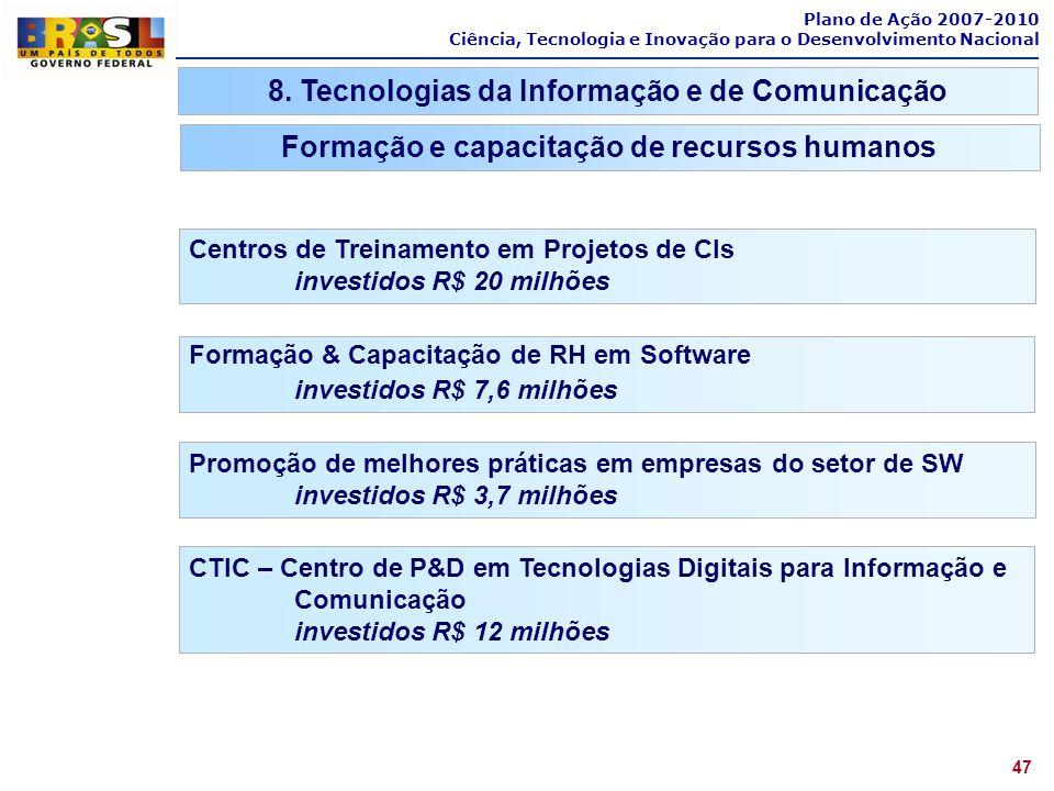 Plano de Ação 2007-2010 Ciência, Tecnologia e Inovação para o Desenvolvimento Nacional 47 8. Tecnologias da Informação e de Comunicação Formação e cap