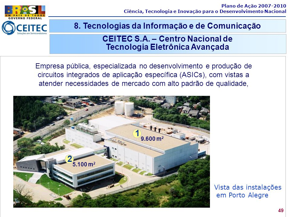 49 Plano de Ação 2007-2010 Ciência, Tecnologia e Inovação para o Desenvolvimento Nacional 8. Tecnologias da Informação e de Comunicação CEITEC S.A. –