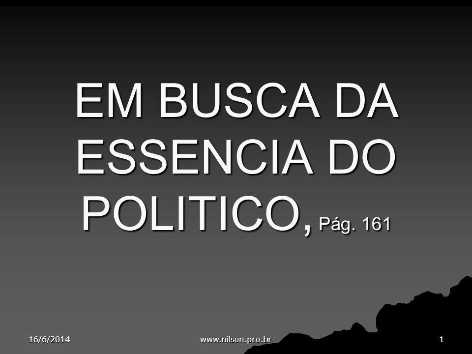 EM BUSCA DA ESSENCIA DO POLITICO, Pág. 161 16/6/20141 www.nilson.pro.br
