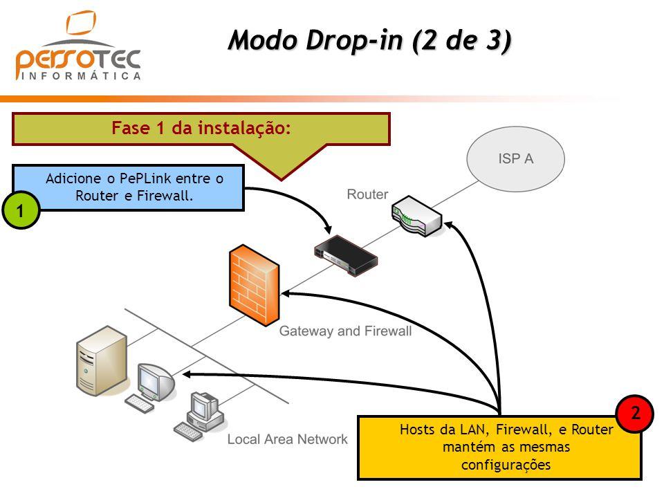 Modo Drop-in (2 de 3) Fase 1 da instalação: Adicione o PePLink entre o Router e Firewall. Hosts da LAN, Firewall, e Router mantém as mesmas configuraç