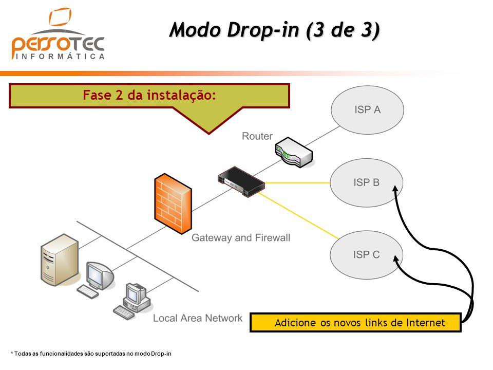 * Todas as funcionalidades são suportadas no modo Drop-in Modo Drop-in (3 de 3) Fase 2 da instalação: Adicione os novos links de Internet