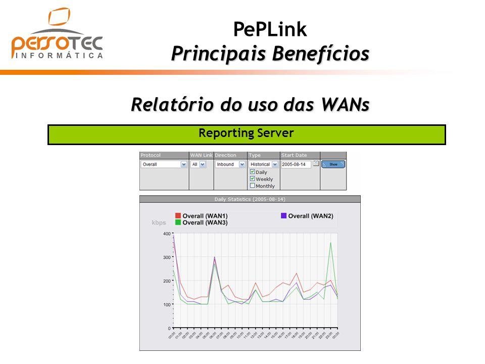 Relatório do uso das WANs PePLink Principais Benefícios Reporting Server