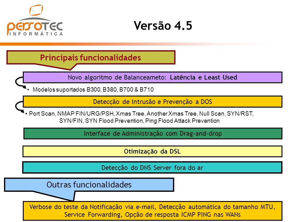 Modelos suportados B300, B380, B700 & B710 Versão 4.5 Principais funcionalidades Interface de Administração com Drag-and-drop Novo algoritmo de Balanc