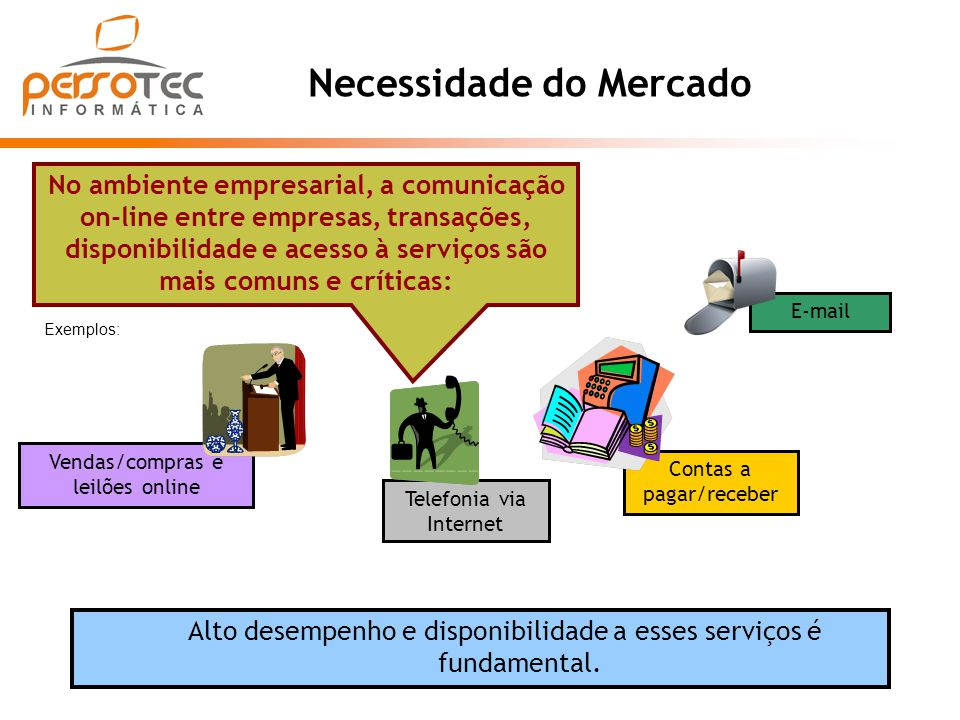 Necessidade do Mercado Alto desempenho e disponibilidade a esses serviços é fundamental. No ambiente empresarial, a comunicação on-line entre empresas