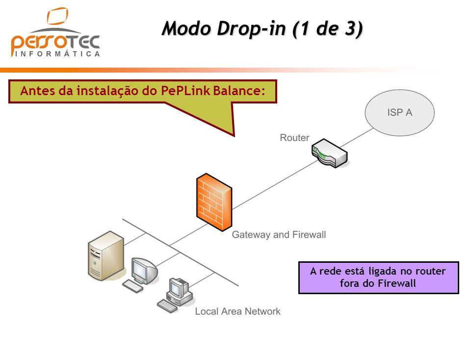 Modo Drop-in (1 de 3) Antes da instalação do PePLink Balance: A rede está ligada no router fora do Firewall