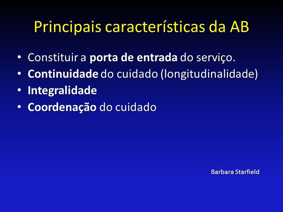 Principais características da AB Constituir a porta de entrada do serviço. Constituir a porta de entrada do serviço. Continuidade do cuidado (longitud