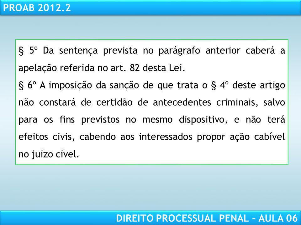 RESPONSABILIDADE CIVIL AULA 1 PROAB 2012.2 DIREITO PROCESSUAL PENAL – AULA 06 § 5º Da sentença prevista no parágrafo anterior caberá a apelação referida no art.