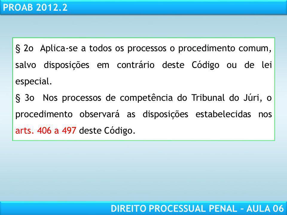 RESPONSABILIDADE CIVIL AULA 1 PROAB 2012.2 DIREITO PROCESSUAL PENAL – AULA 06 § 2o Aplica-se a todos os processos o procedimento comum, salvo disposições em contrário deste Código ou de lei especial.
