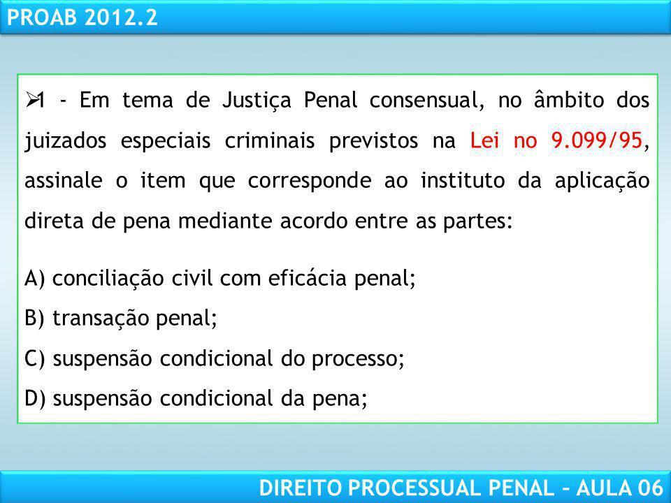 RESPONSABILIDADE CIVIL AULA 1 PROAB 2012.2 DIREITO PROCESSUAL PENAL – AULA 06 1 - Em tema de Justiça Penal consensual, no âmbito dos juizados especiais criminais previstos na Lei no 9.099/95, assinale o item que corresponde ao instituto da aplicação direta de pena mediante acordo entre as partes: A) conciliação civil com eficácia penal; B) transação penal; C) suspensão condicional do processo; D) suspensão condicional da pena;
